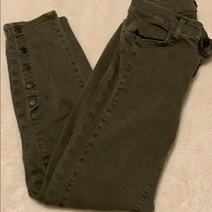 j brand olive green jeans w button detail, size 26